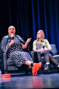 "But Make it Fashion: Influencers and BuzzFeed producers Jazzmyne Robbins (left) and Lindsay Webster (right) visited campus to discuss fashion, content creation and life after college. Webster said she hoped to relieve student's anxiety about the future and inspire them to ""keep on keeping on.""  Photo contributed by Sam Hostetter"