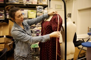 """Designing costumes from Cal Luthern to  London: """"I am telling a story through the directors and producers vision, creating a person with the way they look, describing someone without them saying anything,"""" said Noelle Raffy, a theatre arts assistant professor. Photo by Jessica Colby- photojournalist"""