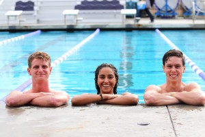 After impressive season performances, junior distance swimmer Ben Brewer (left), senior sprinter Grace Sanchez (center) and sophomore mid-distance swimmer AJ Nybo (right) will continue their swimming season as they head to North Carolina March 20-23 to compete in the NCAA Division III Swimming and Diving Championships.  (Photo by Arianna Macaluso - Photo Editor)