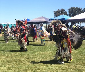 """Keeping traditions alive: Members of various tribes participated in indigenous dances, songs and crafts at the Chumash Day Powwow and Intertribal Day Gathering. """"I think it's important to know where we come from,"""" said Linda Gutierrez, who attended the powwow.  Photo by Maria Barragan- Reporter."""