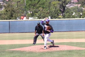 In game three of the series, sophomore pitcher Scott Roberts gave up 3 runs and struck out four batters.  (Photo by Arianna Macaluso - Photo Editor)