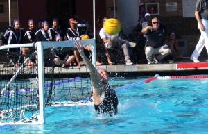 During Friday's semi-final against Whittier College, senior goalkeeper Bailey Meyer totaled 16 saves, becoming the first Regal to make over 900 career saves. After Cal Lutheran's 10-9 championship victory on Sunday, April 28, Meyer has made a total of 912 saves during her 4 years of Cal Lutheran water polo.  (Photo by Joc Smith - Photojournalist)