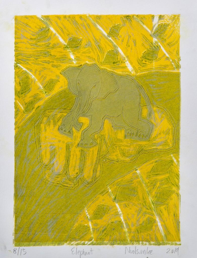 Thor Nualsumlee_Elephant_Woodcut relief