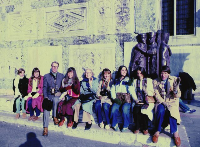Fred Tonsing, third from left, poses with a group of students at St. Mark's Basilica in Venice, Italy, during a 1981 Interim Session.