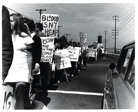 "A nearly identical sign reading ""Blood Isn't Cheap,"" with the same lettering, appears in a Thousand Oaks News-Chronicle photo from Oct. 15, 1969. So there's little doubt which march is depicted in this file photo. We just don't know who took it."