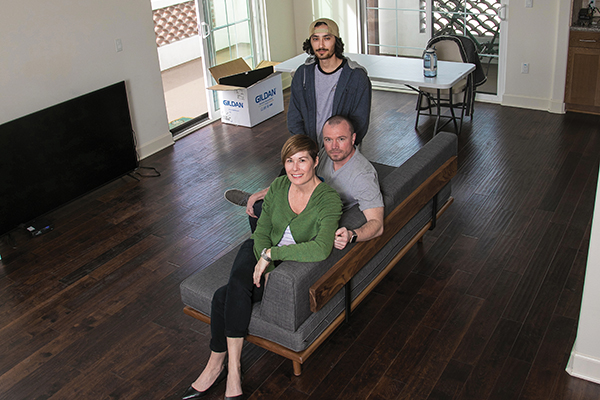 Cary Glenn '14, Jarrod Poirot and their son, Alex Uribe, lost artworks and other prized objects from Mexico, France and Turkey when their apartment was destroyed by the Thomas Fire. Still, they plan to collect art for the new place in Ventura.