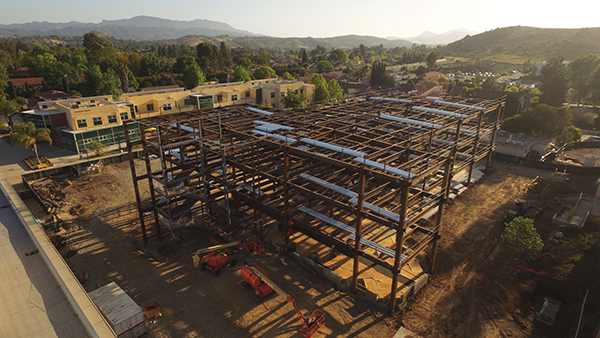 This photo was snapped on May 2 from a drone hovering northeast of Swenson Science Center, shortly after the structural steel beams and columns were stood up and bolted into place. (By Michael DeTerra)