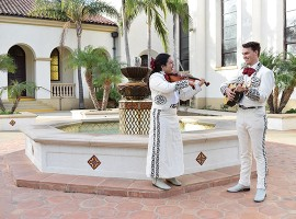 Students Valeria Garcia of Oxnard and Jacob Wolfrey of Camarillo are two of the first members of the Mariachi Ensemble, which includes a core group of Cal Lutheran students and members from high school, community colleges and the community.  (Photo by Allie Kuratani '18)