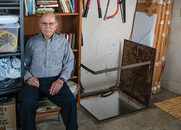 Homeowner Gerald Cline didn't choose to install a bomb shelter beneath his garage. It was there when he came to Thousand Oaks in 1964. He called history professor Michaela Reaves after seeing an article on her Cold War course, and now has helped her to identify more homes with bunkers.  (Photo by Brian Stethem '84)