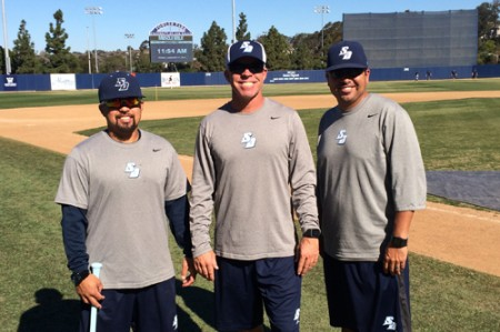Brad Marcelino '07 (left), Rich Hill '85, M.S. '88, and Ramon Orozco '99 look forward to another successful season of USD baseball.
