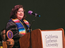 Jessica Lavariega Monforti, the new dean of the College of Arts and Sciences, speaks at Opening Convocation in August. When her book on the DACA program came out in 2014, Lavariega Monforti was teaching at the University of Texas–Pan American a few minutes from the Mexican border.