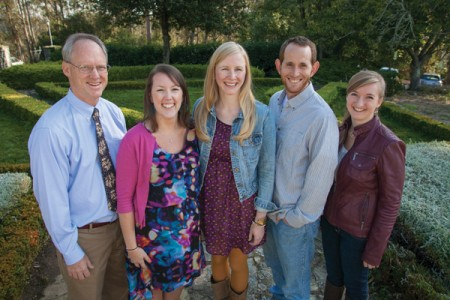 CLU alums at PLTS include the director of seminary relations, the Rev. Brian Stein-Webber '77 (left); students Casey Kloehn '10, Rachel Eskesen '04 and Daniel Pell '11; and office manager Wren Gray-Reneberg '12.