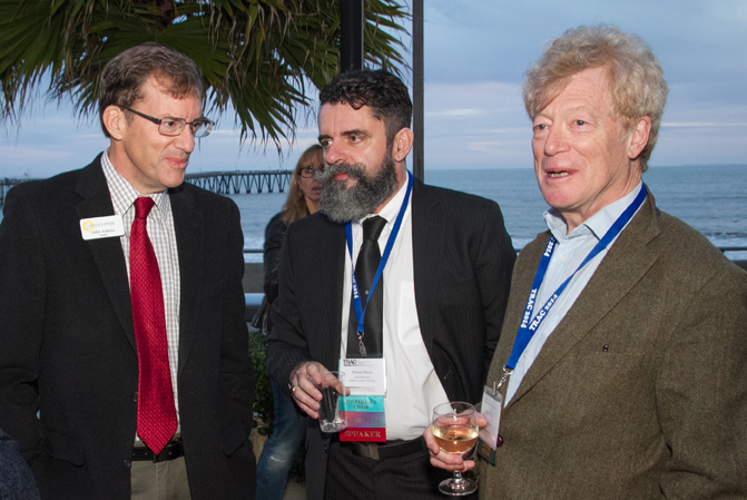 CLU President Chris Kimball (left) shares a relaxed moment at the Crowne Plaza Ventura Beach with art professor and co-organizer Michael Pearce and keynote speaker Roger Scruton, a philosopher of aesthetics.