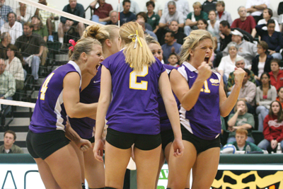 Valenzuela (then Lindsey Benson) celebrates during the NCAA Division III Volleyball West Regionals at La Verne in 2006. Cal Lutheran won the regional event and advanced to the Elite Eight in Virginia.