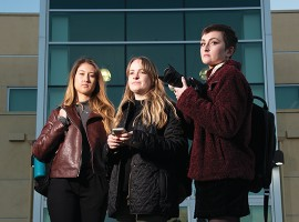 Echo sports editor Brooke Stanley (left), editor in chief Dakota Allen and news editor Olivia Schouten won first place for breaking news in the 2019 California College Media Awards. The newspaper staff took four awards for writing and one for a photo by Arianna Macaluso.