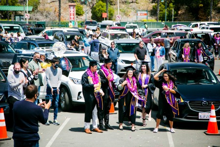Members of the Class of 2021 celebrate with a drive-in ceremony at Cal Lutheran's 58th annual Traditional Undergraduate Commencement on May 8.