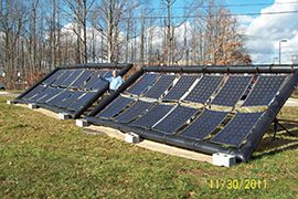 In 2011, six years after starting Wakonda Technologies Inc., Fritzemeier tests a solar array for the U.S. Army at Aberdeen Proving Ground in Maryland. Shown in the photo at right, the system set records for speed of deployment – under 15 minutes – and solar power generation per kilogram.