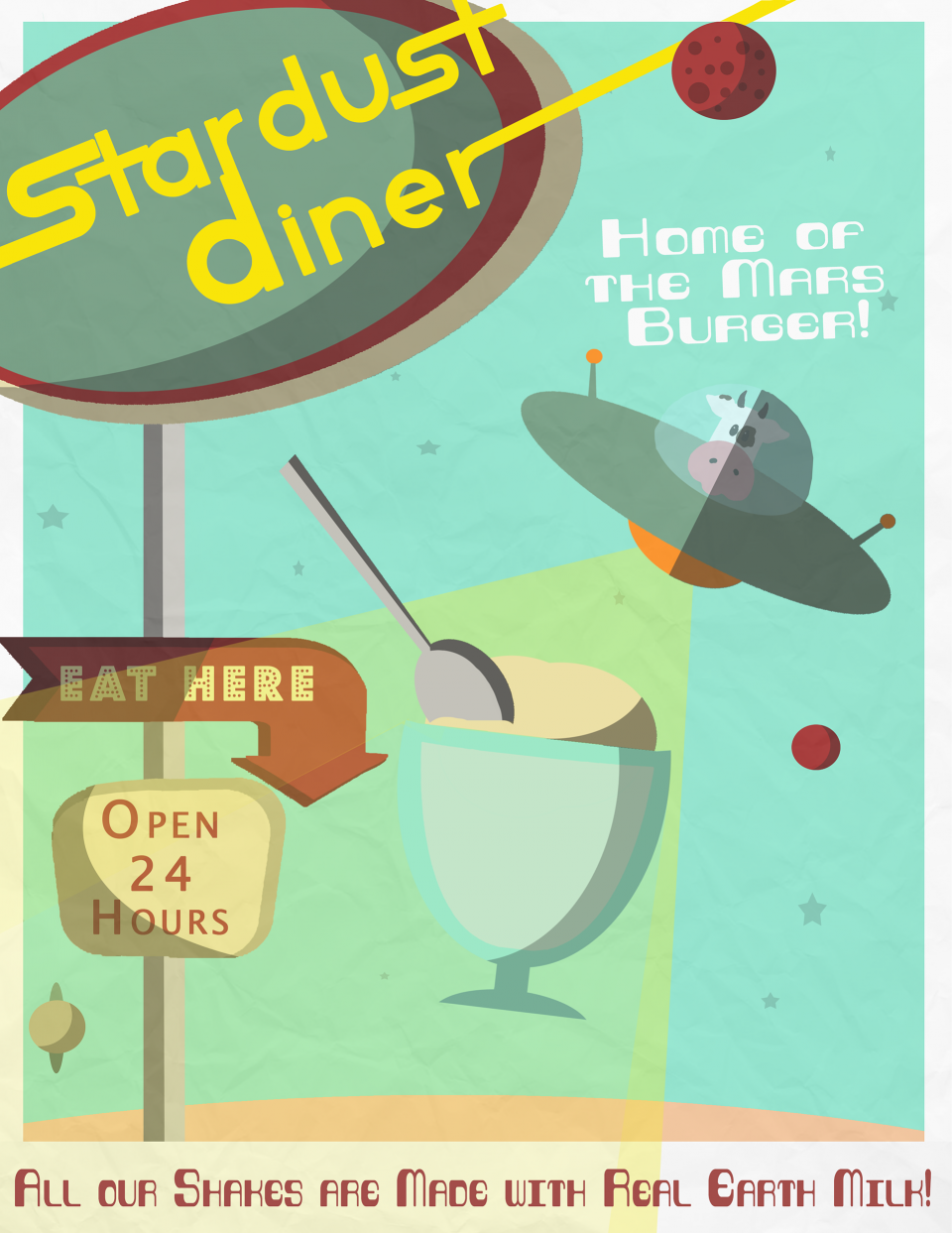 Stardust Diner Retro Posters is a series by Valerie Krepel '19.