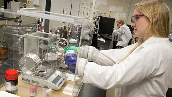 Brittany Smolarski in the lab