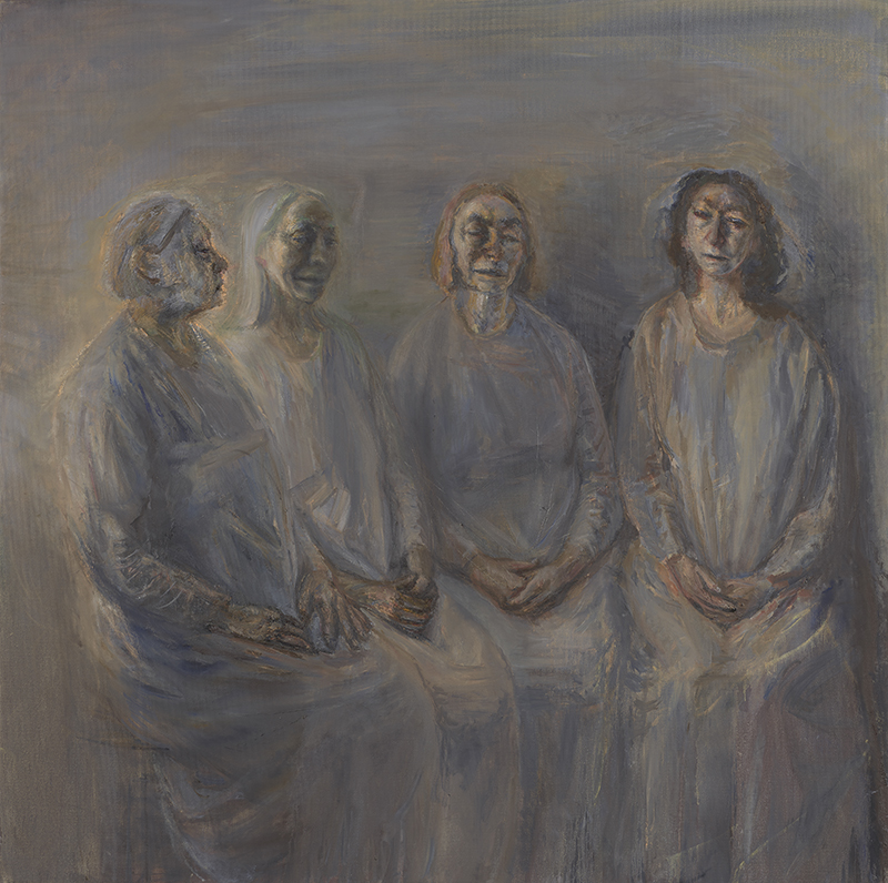Celia Paul, My Sisters in Mourning, 2015-2016, Oil on canvas, 147.4 x 148 x 3.5 cm, 58 1/8 x 58 1/4 x 1 3/8 in, © Celia Paul, Courtesy the artist and Victoria Miro, London/Venice