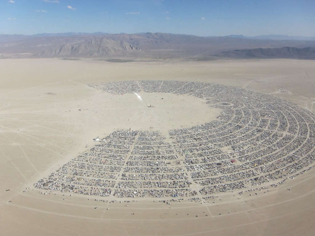 Aerial view of the Burning Man encampment - a city in the desert.