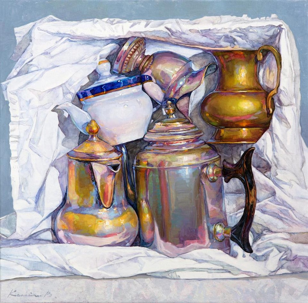 Viktoria Kalaichi – Dishes, oil on canvas, 60 х 60 сm